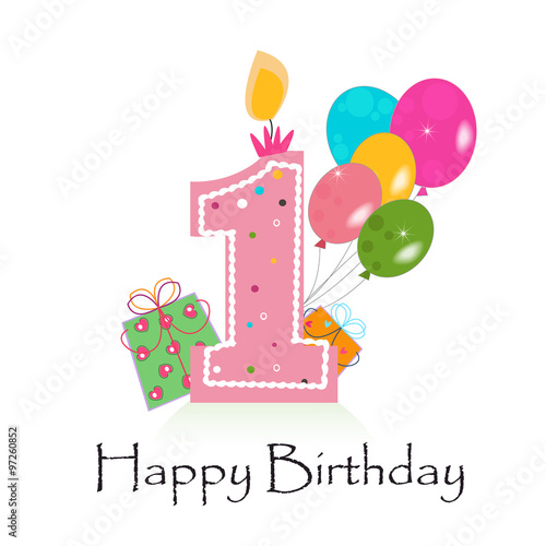Happy First Birthday Card Vector With Box And Balloons Stock Photo