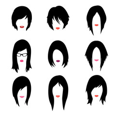 Vector set of woman hipster style haircut, glasses and lips