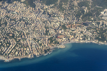 aerial view of the city of Genoa in Liguria