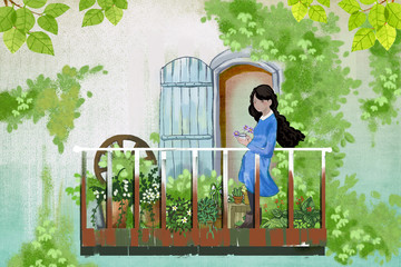 Illustration for Children: The Young Girl stays in Her Balcony Garden, Enjoy Visiting her Flower Friends. Realistic Fantastic Cartoon Style Story / Scene / Wallpaper / Background / Card Design.