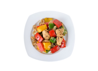 Stir Fried Chicken with Black Pepper on white plate