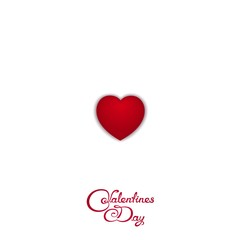 Just red symbol love heart with calligraphy lettering - Valentine's Day