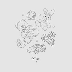 Vector set of hand drawn toys for kids.