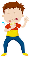 Boy eating sour lemon
