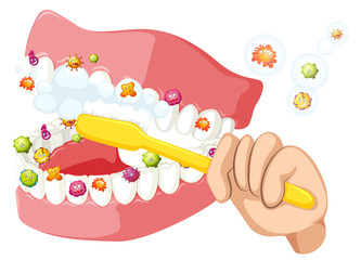 Brushing teeth and cleaning out bacteria