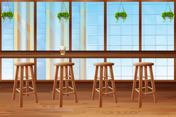 Inside of coffee shop with glass window