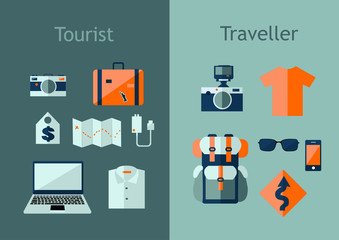Set of travel icons in flat style. Travel plan concept. Vector illustration with design elements, backpack, map, camera, laptop