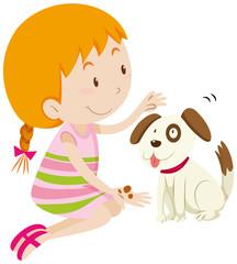 Cute girl feeding her pet dog