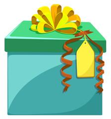 Present box with yellow ribbon