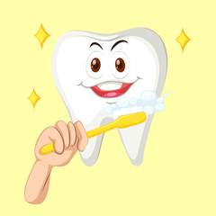 Healthy tooth with happy face