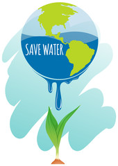 Save water theme with earth and plant