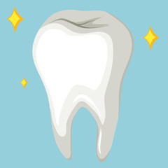 Single human tooth on blue background