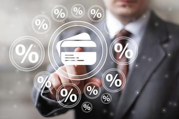 Businessman touch button credit card communication percent
