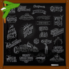 Big set of Christmas and new year ellements. lettering with deer on black chalkboard