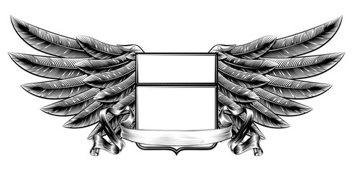 Woodcut winged shield banner