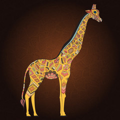 Beautiful adult Giraffe. Hand drawn Illustration of ornamental giraffe.  Colored giraffe on ornamental background