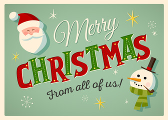 Vintage style Christmas Card with Santa Claus and Snowman. EPS10