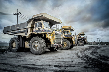Coal mining. The truck transporting coal.