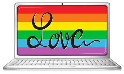 Love symbol on computer screen