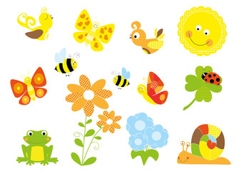 Set of cute cartoon nature elements - spring , summer collection
