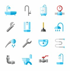 Plumbing, icons, colored, flat.