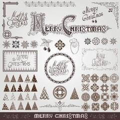 big set merry christms elements