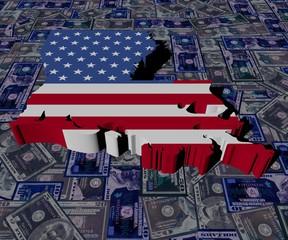 Louisiana map flag on dollars illustration