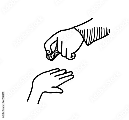 Line Drawing Money : Quot charity a hand drawn vector doodle illustration of