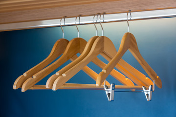 Close up of wooden hangers