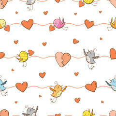 Vector seamless pattern by Valentine's Day with cartoon birds and hearts on  white background.