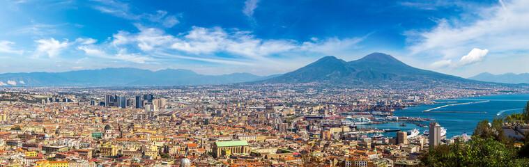 Garden Poster Napels Napoli and mount Vesuvius in Italy