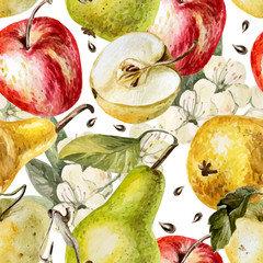 Watercolor pattern with apples, pears and flowers