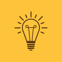 The lightbulb icon. Illumination symbol. Flat
