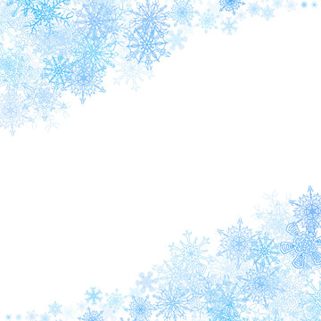 Christmas frame with small blue snowflakes