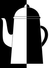 Cafetière en noir et en blanc