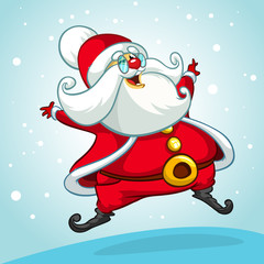 Christmas cartoon of Santa Claus jumping. Vector illustration isolated on snowy background