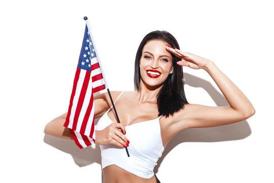 Sexy woman salute with usa flag