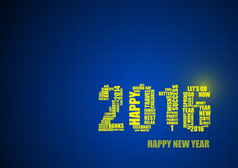Vector : 2016 in line on blue background