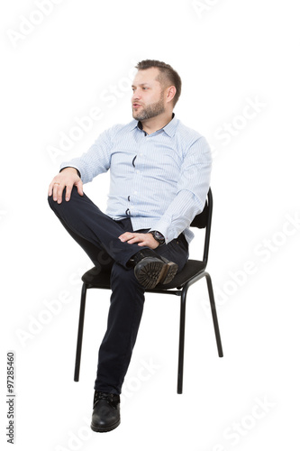Man Sitting On Chair Isolated White Background Body Language Gesture Training Managers