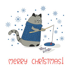 Merry Christmas greeting card template. Holiday background with cute fishing cat.
