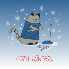 Cute hand drawn cat. Vector illustration of winter fishing,