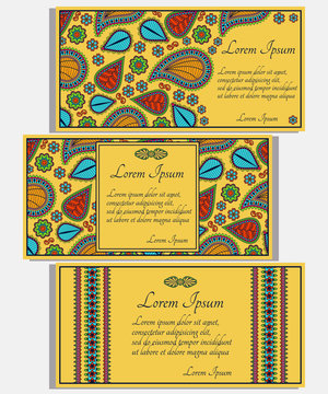 Set of yellow invitation cards with colored paisley and floral elements. Good for weddings, parties, anniversaries, etc.
