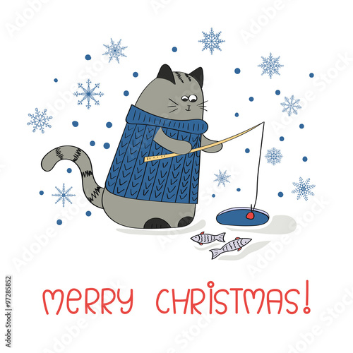 Merry christmas greeting card template holiday background with cute merry christmas greeting card template holiday background with cute fishing cat m4hsunfo