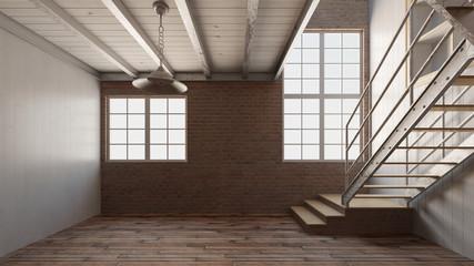 Raum mit Treppe im Loft