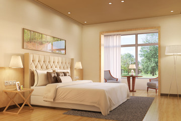 Schlafzimmer mit Doppelbett im Haus