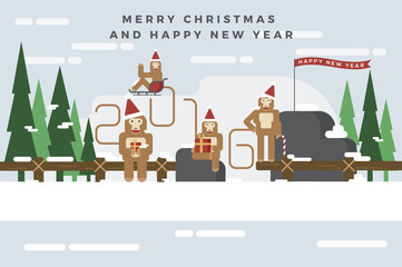 Monkeys are celebrating a Christmas and Happy New Year 2016 and hold their gift box on snow mountain. Flat design for greeting cards, invitation, calendar, banner.