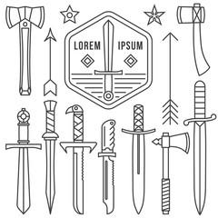 Thin Line Icons: swordsŒ