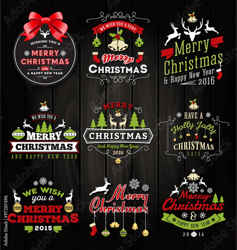 set of christmas decoration typography tag and label design merry christmas and happy new year