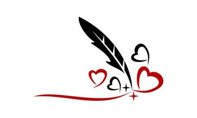 Feather Pen and Heart