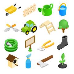 Garden isometric 3d icons set